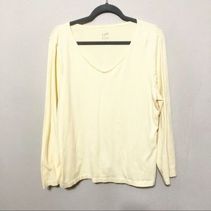 J Jill Satin Stitch V Neck Long Sleeve Tee Yellow